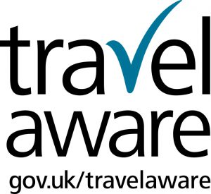 Travel Aware Logo - Black with Blue Tick - Jpeg